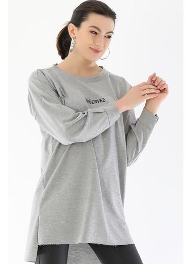 Emjey Basic Uzun Tunik Gri